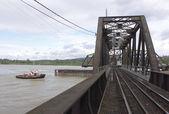 Tug Approaches Swing Bridge — Stock Photo