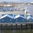 River Boathouses — Stock Photo