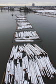 Winter Tugboat Hauling Log Boom — Stock Photo