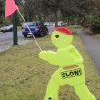 Slow Down  Children Playing Signage — 图库照片