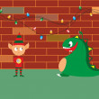 Vector de stock : Baby dragon and elf