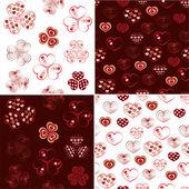 Vector set of heart seamless pattern — Stock Vector