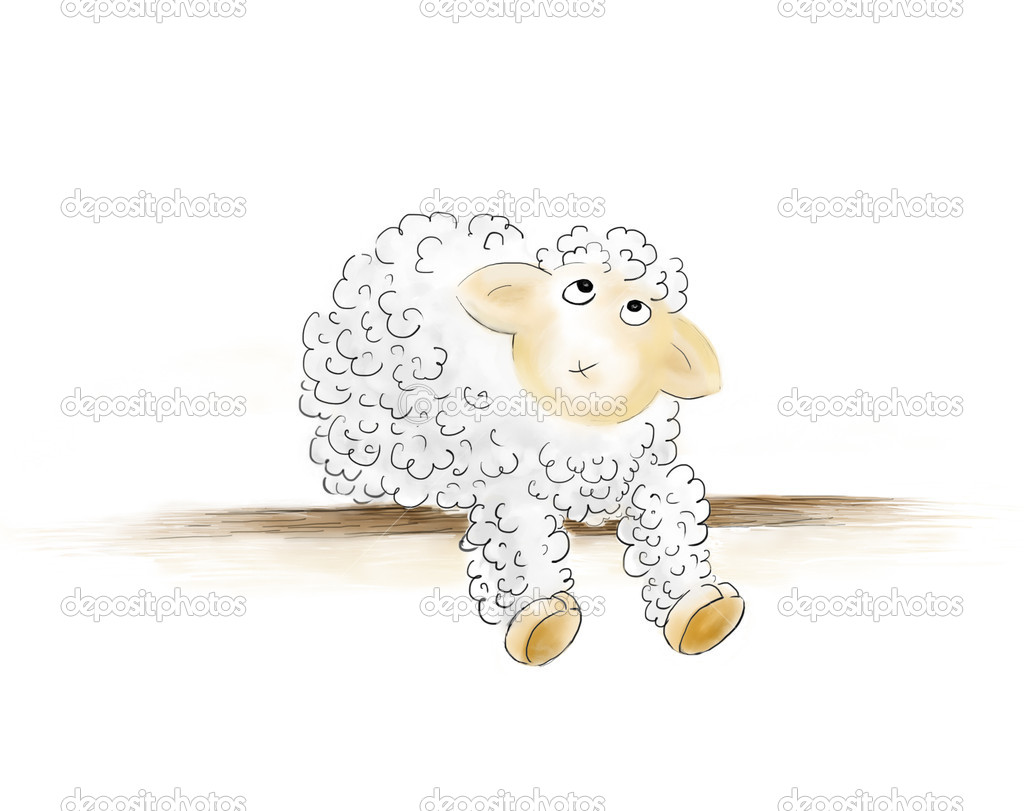 Wondered sheep hand drawn illustration isolated on white — Stock Photo #8724723