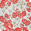 Excellent seamless pattern with poppies - Stock Vector