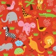 Seamless children pattern with cute animals — Stock Vector #10271244