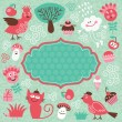 Frame and set cute cartoon elements — Imagen vectorial
