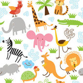 Seamless children pattern with cute animals — Stock Vector