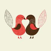 Cute birds, valentine card — Stock Vector
