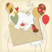 Holiday scrapbooking elements, greeting birthday card — Stock Vector