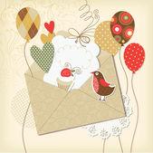 Elementi di scrapbooking vacanza, saluto carta di compleanno — Vettoriale Stock