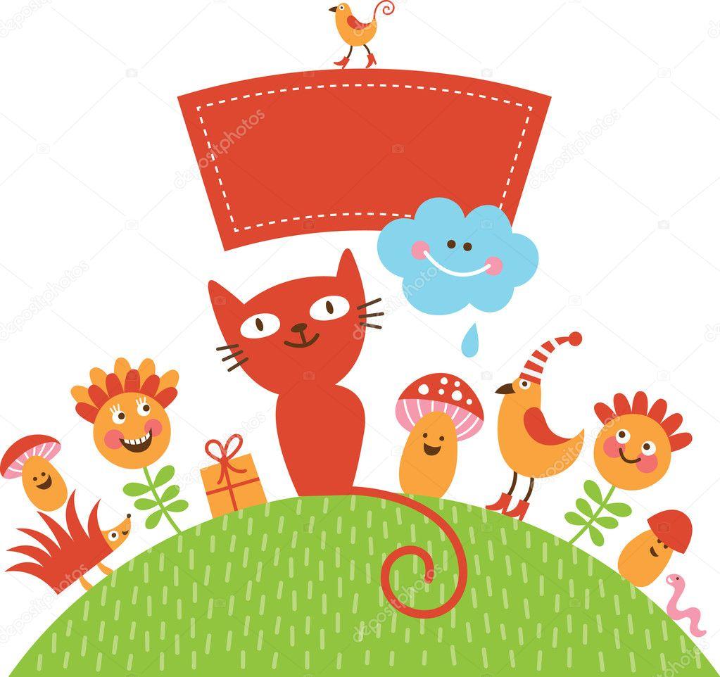 与可爱卡通动物贺卡
