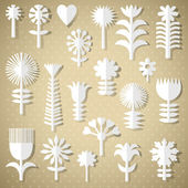 Cut flowers of white paper — Stock Vector