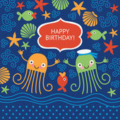 Cute greeting card with funny octopuses — Stock Vector
