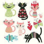 Set di gatti carino cartone animato — Vettoriale Stock