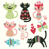 Conjunto de los gatos lindos dibujos animados — Vector de stock