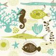 Stock Vector: Seamless pattern with fishes
