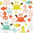 Seamless pattern with cute crabs and octopuses — Stock Vector