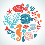 Fishes, marine life — Stock Vector