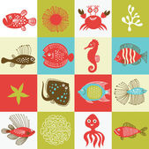Set of whimsical fishes and marine life — Stock Vector