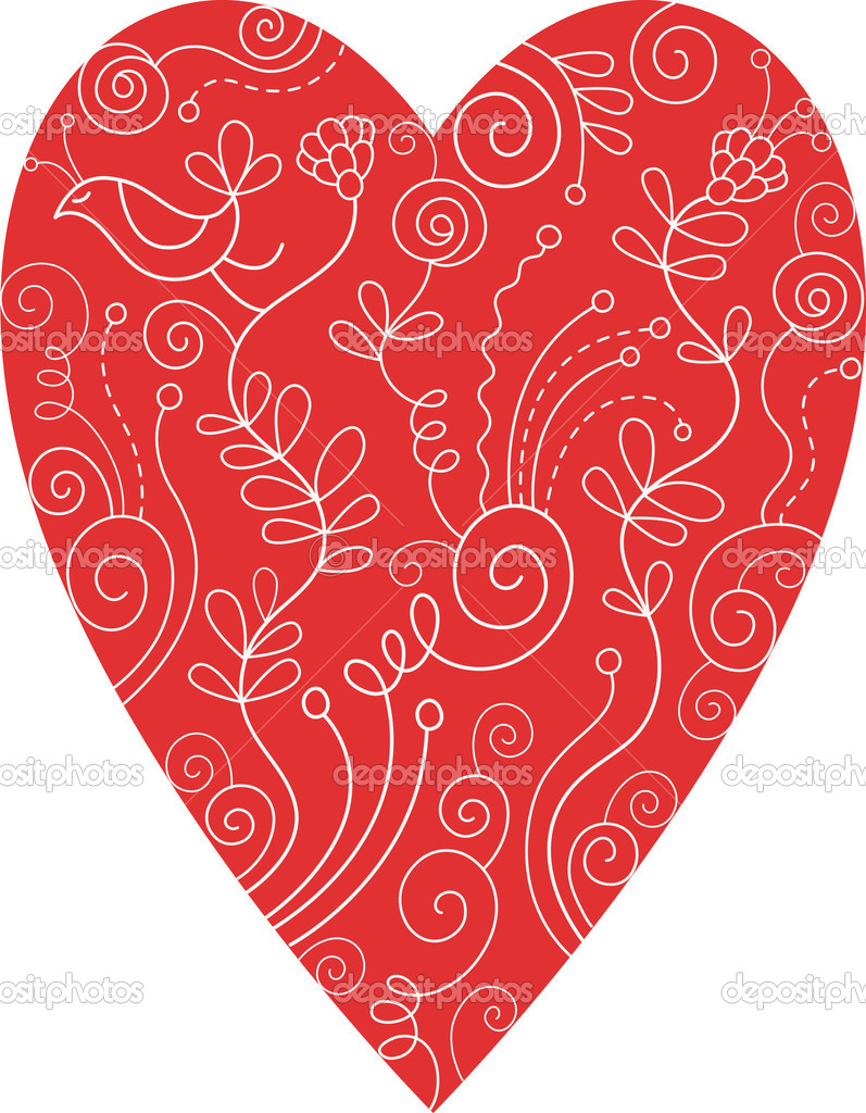 Red floral heart  Stock Vector #9361563