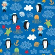 Seamless pattern with sea elements — Imagen vectorial