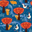 Royalty-Free Stock Vector Image: Seamless pattern with cats and birds