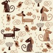 Seamless pattern with cute dogs — Stock Vector