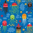 Seamless pattern wits cute octopuses — Stock Vector