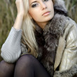 Girl in a fur coat in the autumn background — Stock Photo #8053126