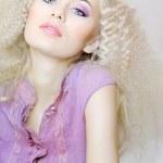 Beautiful woman fashion model on soft background — Stock Photo