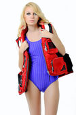 Beautiful girl in life jacket — Stock Photo