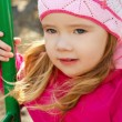 Portrait of little girl outdoors on a spring day — Stock Photo
