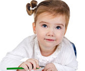 Portrait of cute little girl with a pencil — Stock Photo