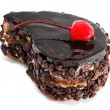 Chocolate cake with cherry on top — Stock Photo