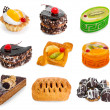 Stock Photo: Dessert collection including cakes, pies, pastry and profiterole