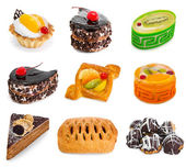 Dessert collection including cakes, pies, pastry and profiterole — Stock Photo