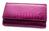 Lilac leather purse — Stock Photo