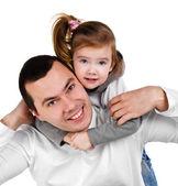 父と娘笑顔を抱き締める — ストック写真