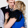 Portrait of a kissing young couple — Stock Photo