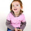 Portrait of smiling little girl with a pencils — Stock Photo