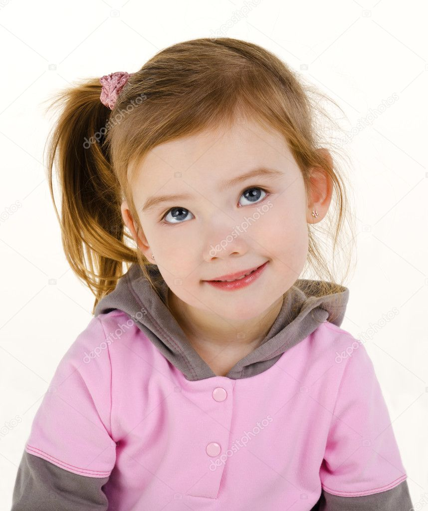 Portrait of cute smiling little girl on a white — Stock Photo #9767070