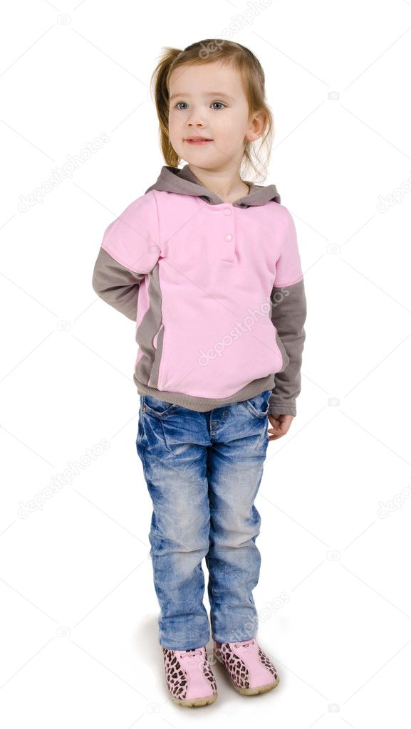 Portrait of smiling little girl in jeans isolated — Stock Photo #9767080