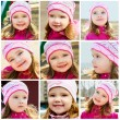 Collage of photos of smiling little girl — 图库照片