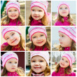 Collage of photos of smiling little girl — ストック写真