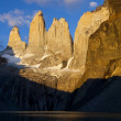 Stock Photo: Torres del paine towers at sunrise, torres del paine national park, patagon