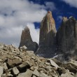 Torres del paine towers at sunrise, torres del paine national park, patagon — Stock Photo #8365974