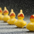 Row of yellow rubber toy ducks in snow flakes — Stock Photo #8366009