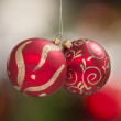 Stock Photo: Hanging red and gold christmas tree globes