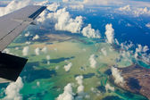 Turks and Caicos lagune shot from plane — Stock Photo