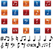 Music Note and Symbol Icons — Stock Vector